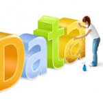 cartoon of a woman cleaning the word data